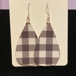 Buffalo plaid faux leather earrings